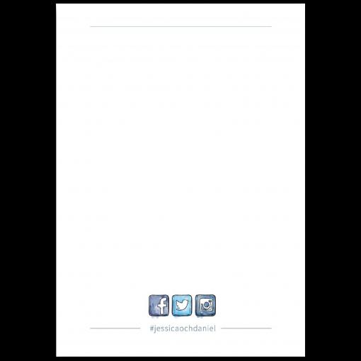 Vigselprgram baksida akvarell blå