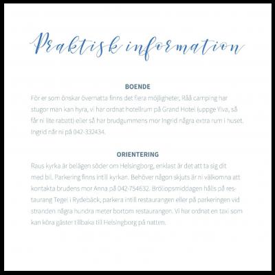 Praktisk information till bröllop blå text