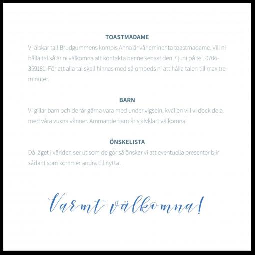 Praktisk information till bröllop blå text baksida
