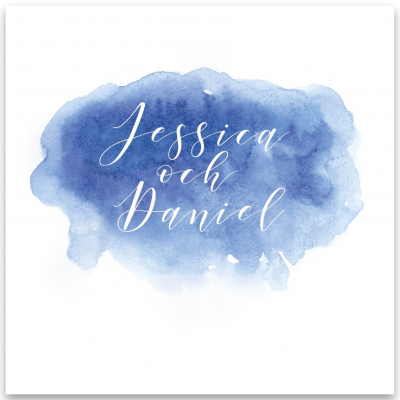 Bröllopsinbjudan akvarell blå