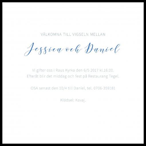 Bröllopsinbjudan insida blå text