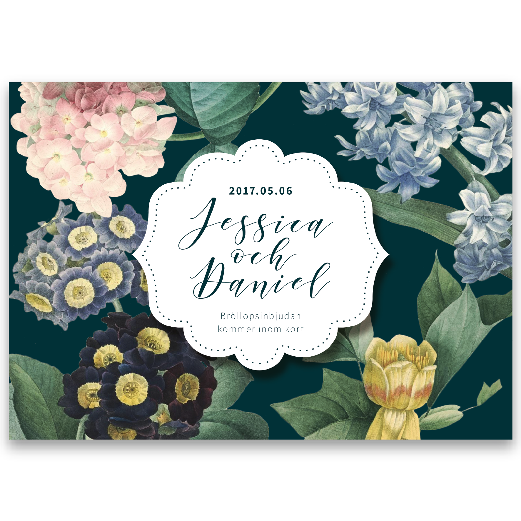 save the date vintage flowers