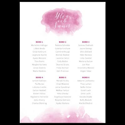 bordsplaceringskarta akvarell rosa