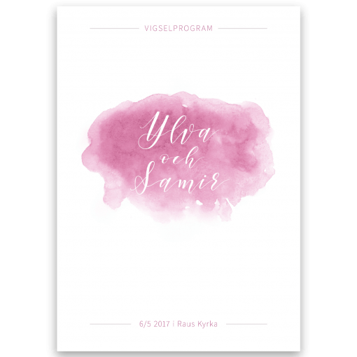 vigselprogram akvarell rosa framsida