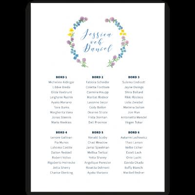 Bordsplaceringskarta till bröllop Midsummer