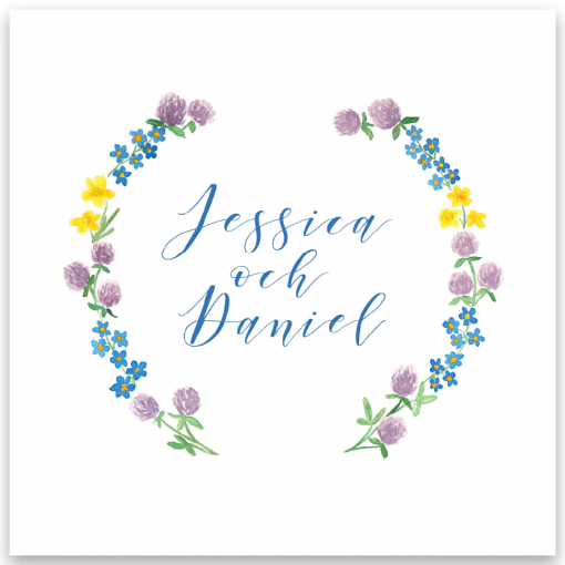 inbjudningskort bröllop sommarblommor akvarell