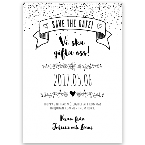 save the date kort vintage