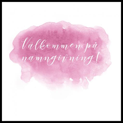 Inbjudningskort rosa akvarell till dop och namngivning