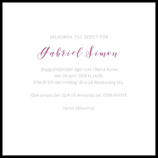 Inbjudningskort akvarell rosa till dop och namngivning