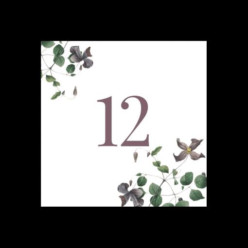 Bordsnummer bröllop vintage clematis 12-01