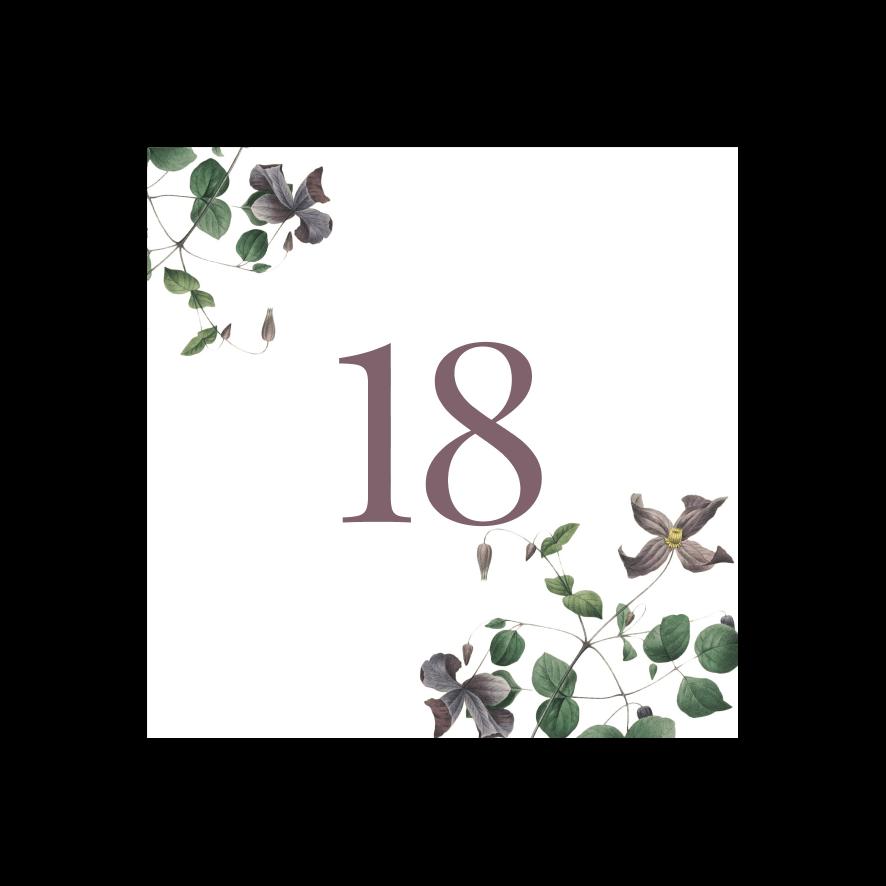 Bordsnummer bröllop vintage clematis 18-01