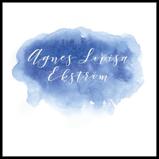 Inbjudningskort till dop och namngivning akvarell blå