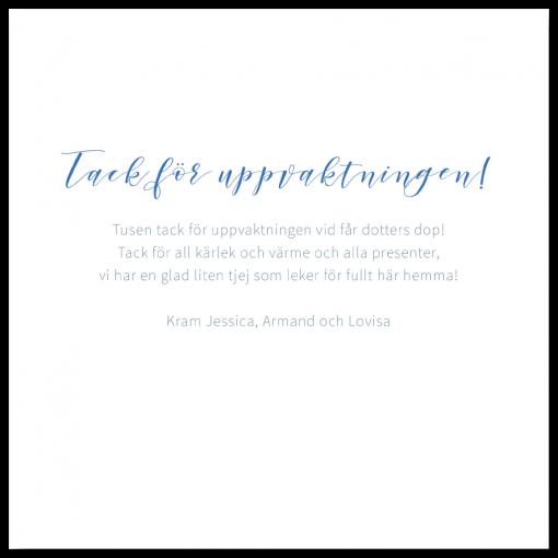 Tackkort till dop och namngivning akvarell blå