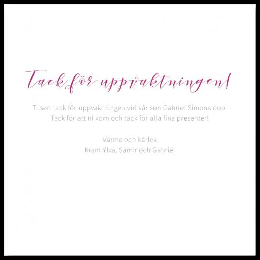 Tackkort till dop och namngivning vänster insida akvarell rosa