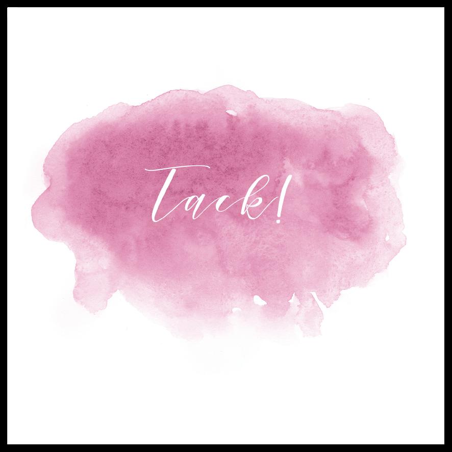 Tackkort till dop och namngivning akvarell rosa