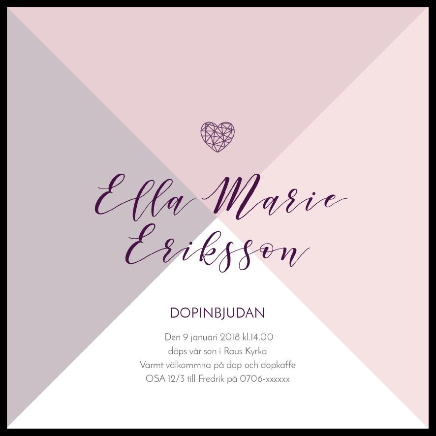 Inbjudningskort till dop och namngivning violet and pink