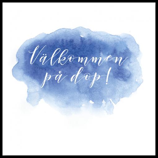 Alternativ framsida till inbjudningskort akvarell blå för dop och namngivning