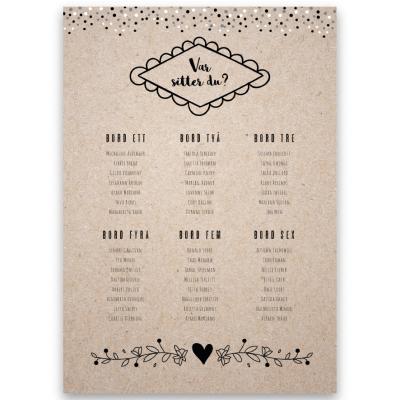 placeringskarta bröllop kvistpapper