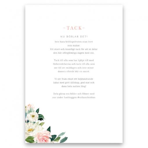 Festprogram bröllop Blush white med rosor