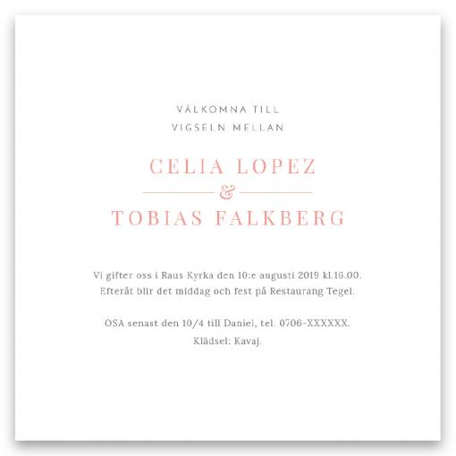Inbjudningskort bröllop blush white med rosor