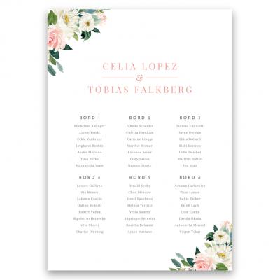 placeringskarta bröllop blush white