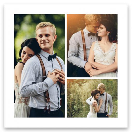 Tackkort till bröllop med tre bilder