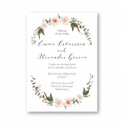 inbjudningskort bröllop dahlia ljusrosa