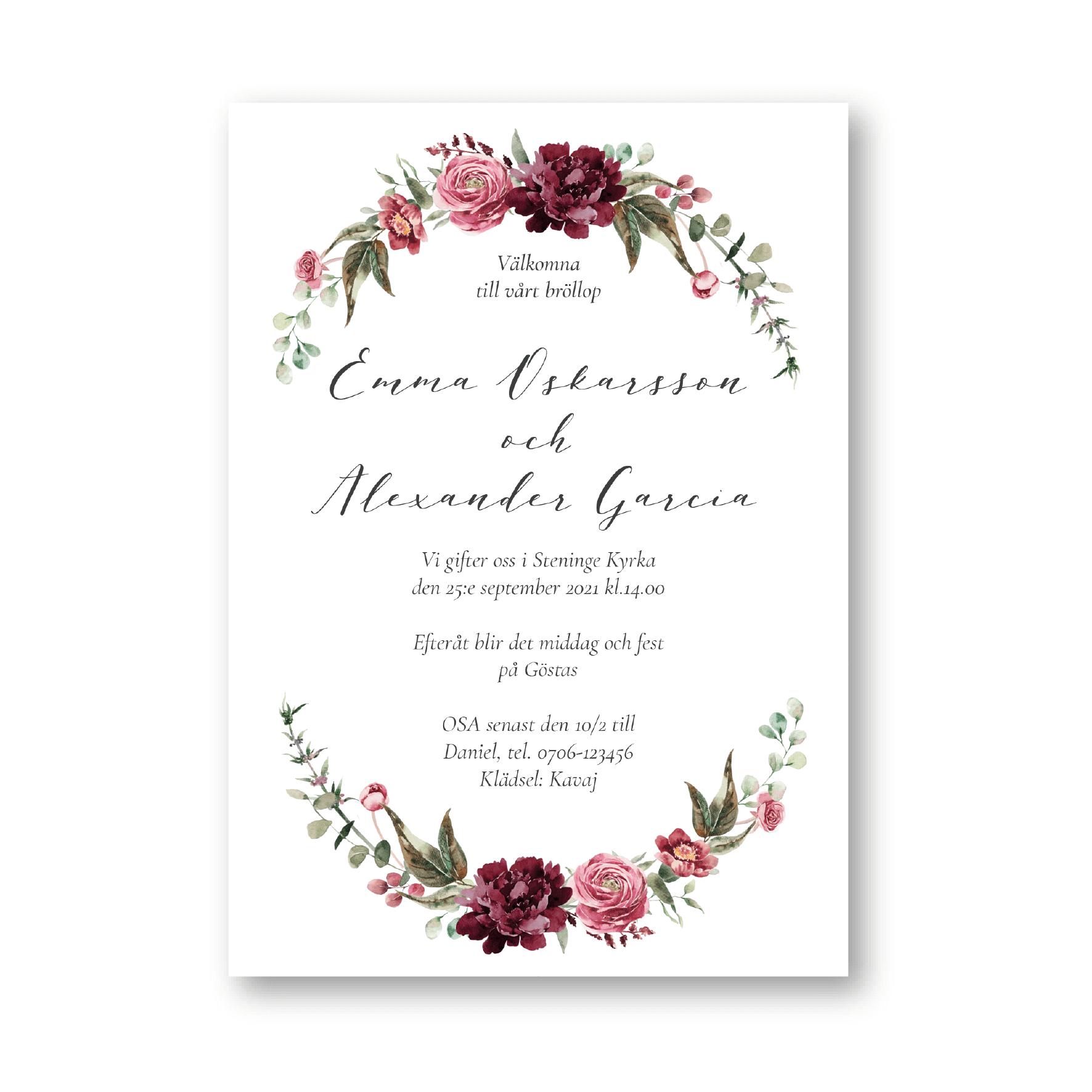 bröllopsinbjudan med dahlior