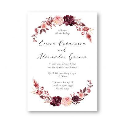 bröllopsinbjudan dahlia rosor i burgundy och rosa
