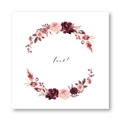 tackkort bröllop dahlia burgundy rose