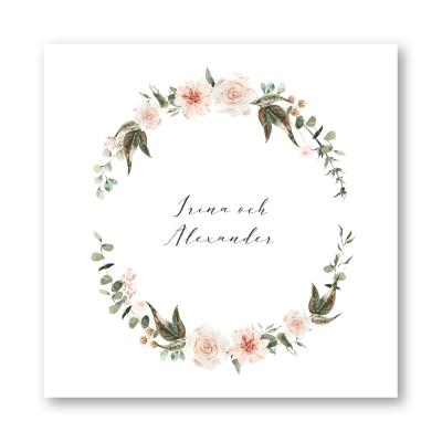 Tackkort bröllop ljust rosa dahlia